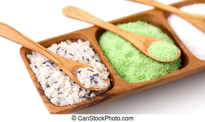different bath salts with wooden spoons on tray - beauty, ...