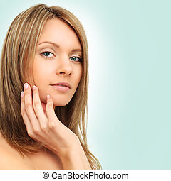 Beauty - spa girl on blue background