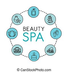 beauty spa set flat icons