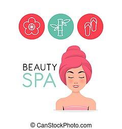 beauty spa set flat icons