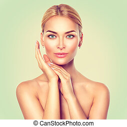 Beauty spa woman portrait. Perfect fresh skin