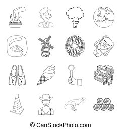 beauty, sport, transport and other web icon in outline style. finance, space, weapons icons in set collection.