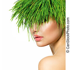 Beauty Spring Woman with Fresh Green Grass Hair