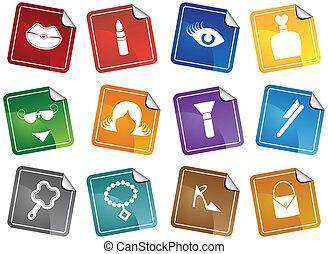 Beauty Sticker Icon Set