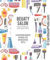 Beauty store background. Vector. Hand drawn isolated objects