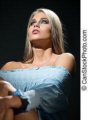 Beauty. Studio photo of visage model looking up - Beauty. ...