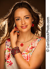 Beauty studio portrait of a beautiful young attractive woman