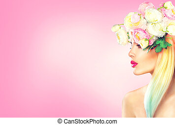Beauty summer model girl with blooming flowers hairstyle