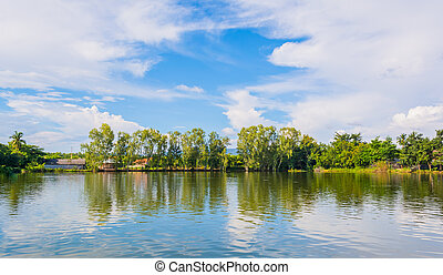 beauty sunny day on the lake with clear sky