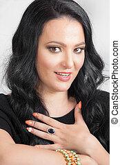 Beauty surprised brunette woman