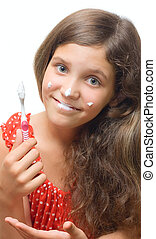 Beauty teen girl clean teeth isolated on white for your...