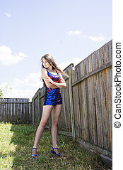Beauty teen Girl in blue UK dance costume