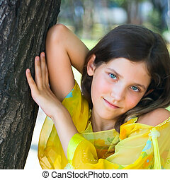 Beauty teen girl in park