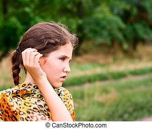 Beauty teen girl on nature