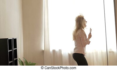 Beauty Teenage Girl Dancing at Home.