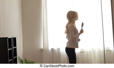 Beauty Teenage Girl Dancing at Home.
