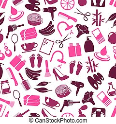 beauty theme big set of various icons seamless color pattern...