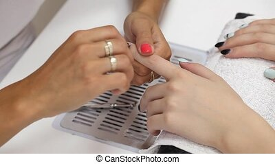 Beauty treatment of fingernails - Finger nail treatment,...
