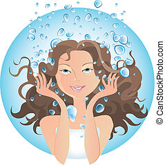 Beauty treatment, water - Girl at SPA water procedures or ...