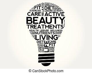 Beauty Treatments bulb word cloud collage