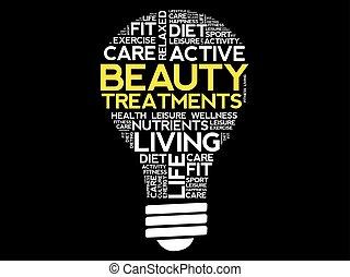 Beauty Treatments bulb word cloud