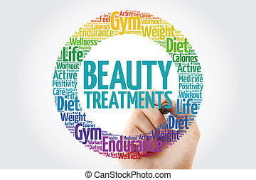 Beauty Treatments circle stamp word cloud