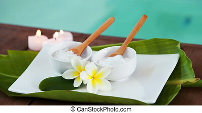 Beauty treatments in bowl presented