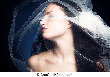 beauty under veil - sensual nymph under white veil