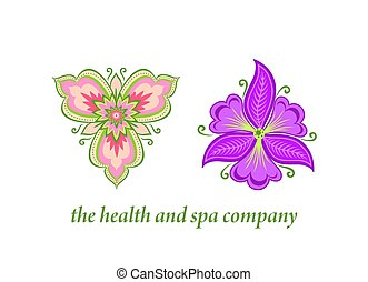 Beauty vector abstract orchid and garden violet flowers icon...