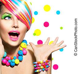 beauty, verticaal, met, kleurrijke, makeup, manicure, en, hairstyle