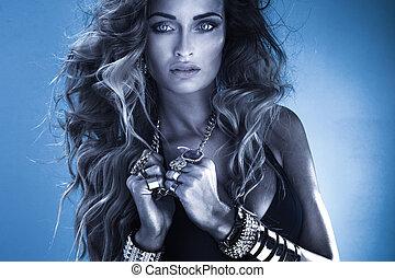 beauty, verticaal, van, sensueel, vrouw