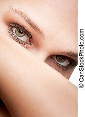 beauty, verticaal, van, vrouw, met, groene ogen