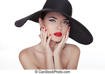 Beauty Vogue Style Fashion Model Girl in black hat. Manicured nails and Red Lipstick. Isolated on a white Background.