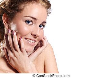 beauty, -, vrijstaand, verticaal, van, een, aantrekkelijk, jonge vrouw
