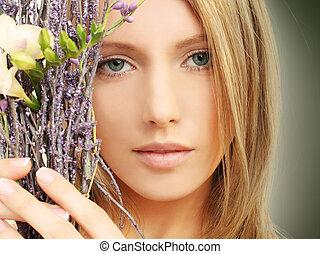 beauty, -, vrouw confronteren, lente, makeup
