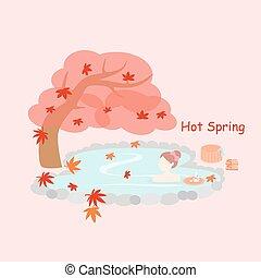 beauty, vrouw, met, de hete lente
