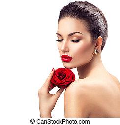 beauty, vrouw, met, het rood nam toe, bloem