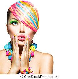 beauty, vrouw, met, kleurrijke, makeup, haar, spijkers, en,...