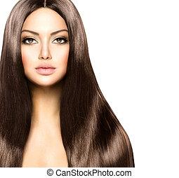 beauty, vrouw, met, lang, gezonde , en, glanzend, glad, bruin haar