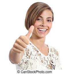 beauty, vrouw, met, perfect, glimlachen, en, witte tanden, gesturing, duim boven