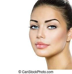 beauty, vrouw, portrait., mooi, brunette, met, blauwe ogen