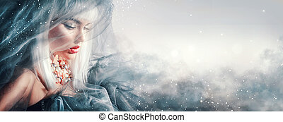 beauty, vrouw, portrait., winter, makeup, en, hairstyle
