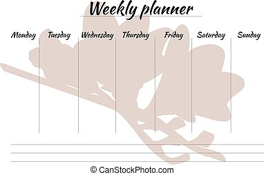 beauty weekly planner with a flower, organiser - beauty...