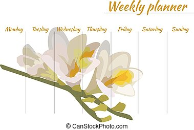 beauty weekly planner with a flower, organiser - weekly...