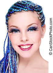 Beauty with blue hair - Portrait of young beautiful smiling ...