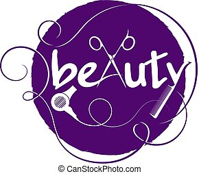 Beauty with curl hair and scissors symbol