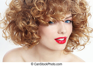 Beauty with curly hair - Portrait of young beautiful happy ...