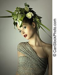 beauty with flowers in hair