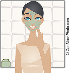 Beauty with green clay mask - A vector illustration of young...