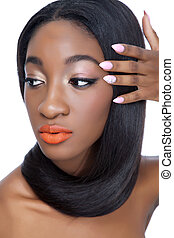 Beauty with perfect hair and nails - Close up portrait of an...